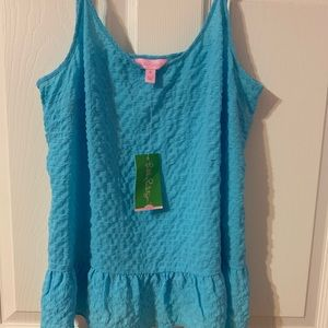 Lilly Pulitzer Tops - Lilly Pulitzer Coral Top Sky Blue Size Medium NWT